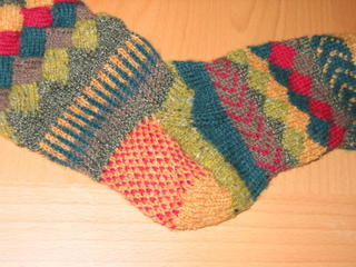 Entrelac sock picture