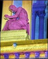 lit statue at Philadelphia City Hall