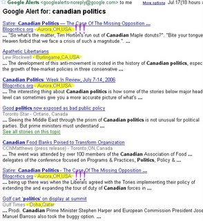 Canadian Politics and Google Alerts