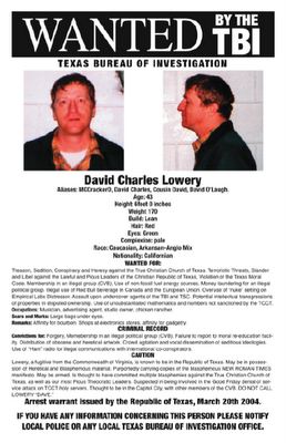 David Charles Lowery TBI Wanted Poster