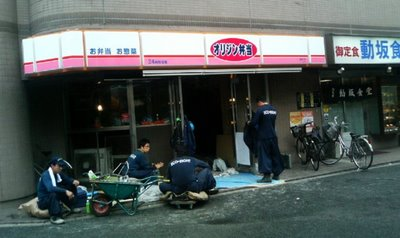 workingmen infront of my bento shop! click to see em even bigger