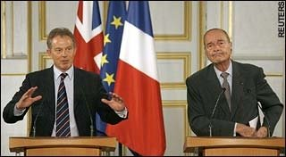 Blair and Chirac at the Paris summit