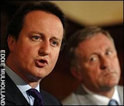 David Cameron, yesterday, with Czech Civil Democrat leader Mirek Topolanek