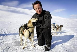 Cameron talking to a dog... the figure on the left is the dog