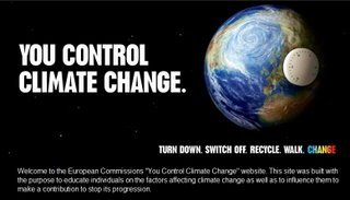 The front page from the commission's web site on climate change