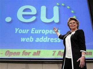 Commissioner for information and society, Viviane Reding, crowing about her .eu domain
