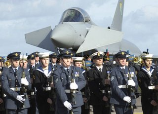 The ceremony at RAF Cottesmore to mark squadron service for the Eurofighter