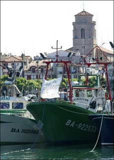 Fishermen blockading the port of Saint-Jean-of-Luz