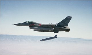 A JASSM being launched from an F-16.  The wings are not yet deployed - see below.