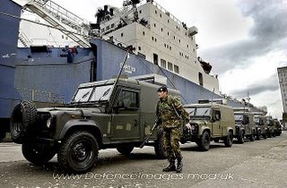 Snatch Land Rovers on the dock in Belfast