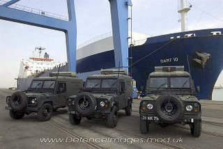 The Land Rovers on arrival in Iraq