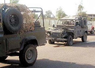 A Land Rover after an attack - a balance of protection, mobility and risk