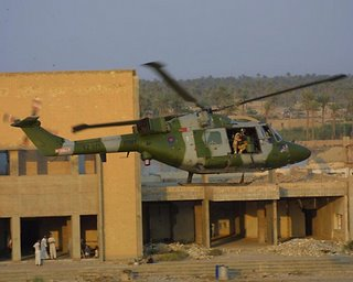 A Lynx helicopter on patrol in Basra - an increasingly rare sight