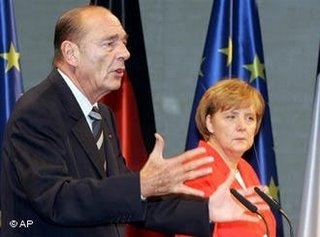 Merkel and Chirac in Berlin yesterday