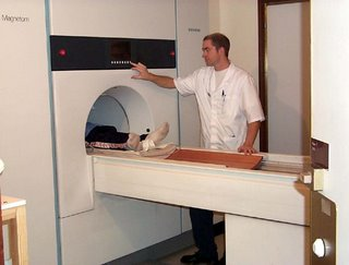 An MRI scanner in use in the NHS