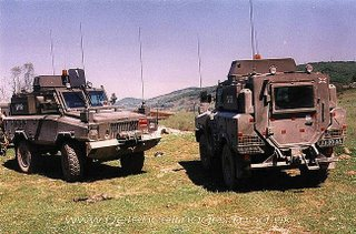 The precursor to the RG-31 - the Mamba, see here in Bosnia in 1997, in British Army colours.  This is the short wheel base version, also known as the Alvis 4