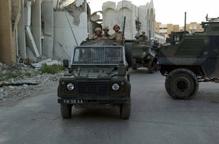 Saxon APCs operating with a 'Snatch' Land Rover in Basra