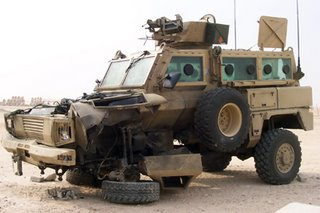 An RG-31 after taking an IED 'hit' - the crew survived
