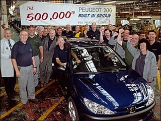 Happier days: September 2001, with staff at the Ryton celebrating the half-millionth 206 to be built in Britain. Manufacturing director, Christopher Gauthier, said ,'we are well placed to continue with our stunning success.'