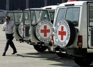 Red Cross vehicles headed for Lebanon