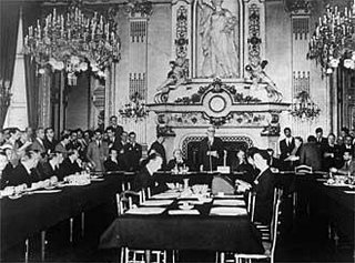 Schuman announcing 'his' plan - like so much to do with the history of the EU, the photograph is a fake.  At the time, Monnet failed to arrange for photographers to be present, so the 'historic' event was reconstructed some days after 9 May