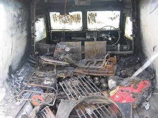 The gutted interior of a Snatch Land Rover