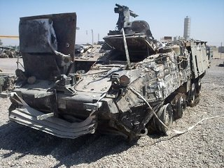 A Stryker after an IED hit