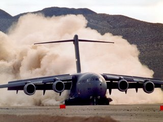 A C-17 on unprepared strip landing trials - the 'real thing'