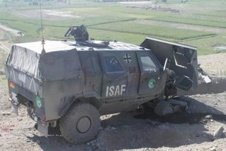 The German mine-protected Dingo, after a mine strike in Afghanistan - the crew were uninjured