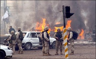 A bomb explosion at the entrance to the green zone in January 2004