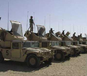Humvee air-defence trucks converted to use as 'gun trucks'