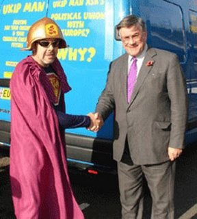UKIP leader, Roger Knapman (right), discussing enlargement with one of his members
