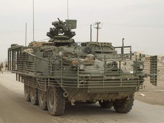 The Stryker armoured patrol vehicle showing the anti-RPG slatted armour