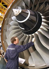 A Rolls-Royce Trent 900 engine