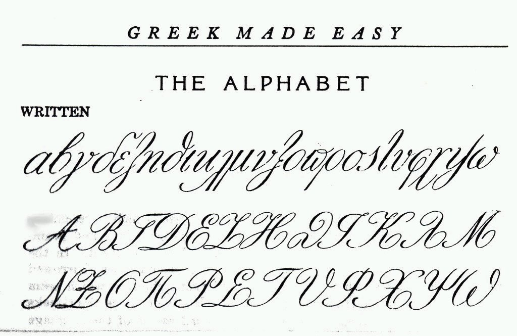 Connected cursive in modern greek page calligraphy