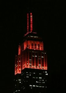 Empire State Building lit up in scarlet, Nov. 9, 2006 (AP Photo/Frank Franklin II)