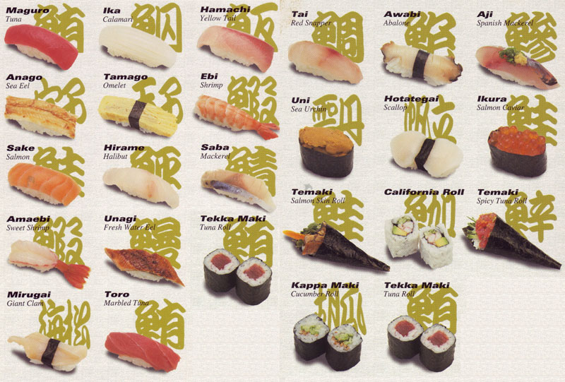 Types of fish sushi pinterest sushi types of and fish for Sushi fish names