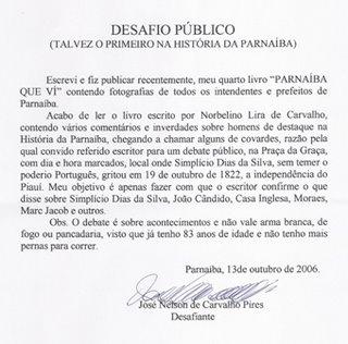 Desafio Público do Sr. José Nelson de Carvalho Pires, in Banca do Louro, Parnaíba, Piauí