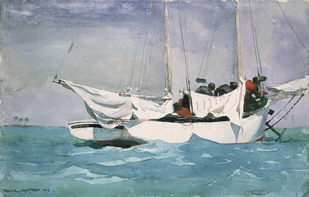mudasir s blog art essays essay 1 winslow homer s key west hauling anchor 1903 using a tremendous amount of cool colors associated the ocean and sky