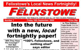 The front page of the new Inside Felixstowe Publication from Felixstowe TV.