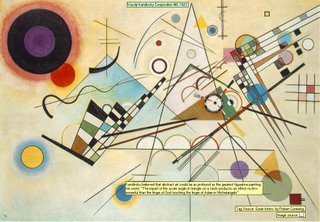 Vassily Kandinsky Composition 8, 1923 Image source:  Kandinsky believed that abstract art could be as profound as the greatest figurative painting.He wrote: The impart of the acute angle of triangle on a circle produces an effect no less powerful than the finger of God touching the finger of Adam in Michelangelo Tag Source: Great Artists. by Robert Cumming
