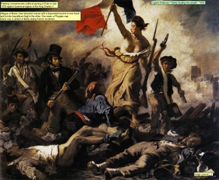 Eugene Delacroix Liberty leading the people, 1830 Image source  Painting commemorates political uprising in Paris in July 1830 against tyrannical regime of the King Charles X Allegory of liberty: bare breasted woman with a bayoneted musket in one hand and tricolor (republican flag) in the other. She wears a Phrygian cap, which was a symbol of liberty during French revolution.