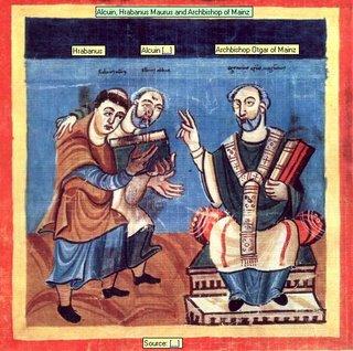 Alcuin, Hrabanus Maurus and Archbishop of Mainz Source:  Alcuin  Hrabanus Archbishop Otgar of Mainz