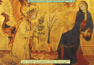 Dialog in painting: Simone Martini The Angel and the Annanciation, 1333 - detail One can see text going from the Angel toward Virgin Mary written just over paintingLater this functionality will be implemented by scroll, and in comics with balloons