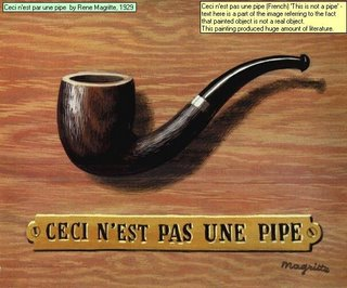 Ceci nest par une pipe  by Rene Magritte, 1929 Ceci nest pas une pipe (French) This is not a pipe - text here is a part of the image referring to the fact that painted object is not a real object. This painting produced huge amount of literature.