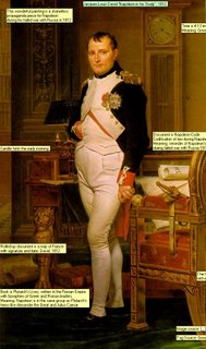 Jacques-Louis David Napoleon in his Study, 1812 Time is 4:13 im the morning, see candle burned low.Meaning: Great leader is working all night for the people Candle hints the early morning Document is Napoleon CodeCodification of law during Napoleon era.Meaning: reminder of Napoleans greatnessduring failed war with Russia 1812-13 Book is Plutarchs Lives, written in the Roman Empire with bioraphies of Greek and Roman leaders.Meaning: Napoleon is in the same group as Plutarchs heros like Alexander the Great and Julius Caesar Rolled-up document is a map of France with signature and date: David, 1812 This wonderful painting is a shameless propaganda piece for Napoleon during his failed war with Russia in 1812 The throne like chair, designed by David, with initial N for Napoleon Tag Source: Great Artists, by Robert Cumming Image source: