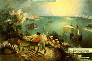 Pieter Breugel Landscape with the Fall of Icarus 1558 Only one leg of the hero Icarus, who according to the myth  tryed and failed to reach the sun flying with artificial wings, can be seen on this painting, while busy life is going on uninterrupted, ingoring Icarus Image Source