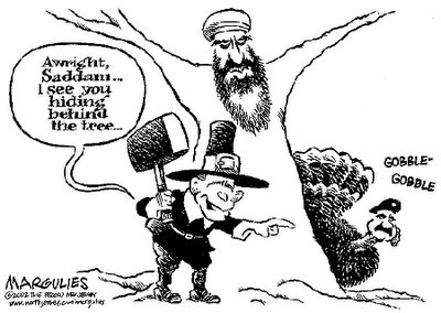 Saddam, I see you from behind the tree. Political Cartoon