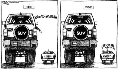 Hybrids versus SUVs political cartoon