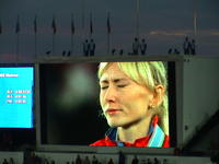 A teary eyed winner of the women's final racing event